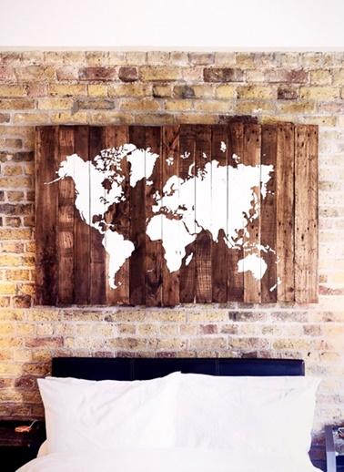 Ceviz Dünya Haritası Tablo-Oldwooddesign